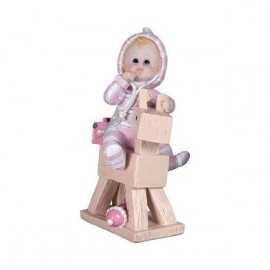 Figurine Bébé Fille cheval de bois