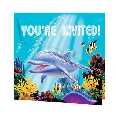 Invitations Anniversaire à thème Dauphins et Océan