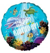 Ballon Hélium Rond à Thème Dauphins et Océan