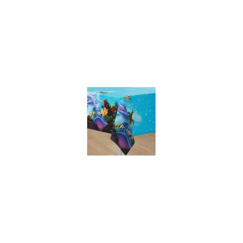 nappe en plastique thème anniversaire dauphins et mers et océans