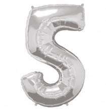 Ballon Géant Alu Gris Argent Chiffre 5 Ans Fête d'Anniversaire