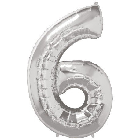 Ballon Géant Alu Gris Argent Chiffre 6 Ans Fête d'Anniversaire