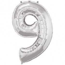 Ballon Géant Alu Gris Argent Chiffre 9 Ans Fête d'Anniversaire enfant