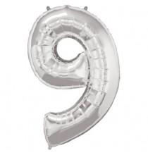 Ballon Géant Alu Gris Argent Chiffre 9 Ans Fête d'Anniversaire