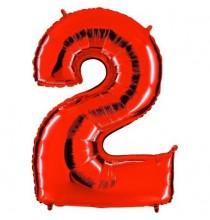 Ballon Géant Alu Rouge Chiffre 2 An Fête d'Anniversaire