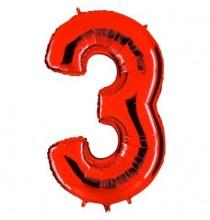 Ballon Géant Alu Rouge Chiffre 3 An Fête d'Anniversaire