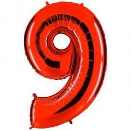 Ballon Géant Alu Rouge Chiffre 9 Ans Fête d'Anniversaire enfant