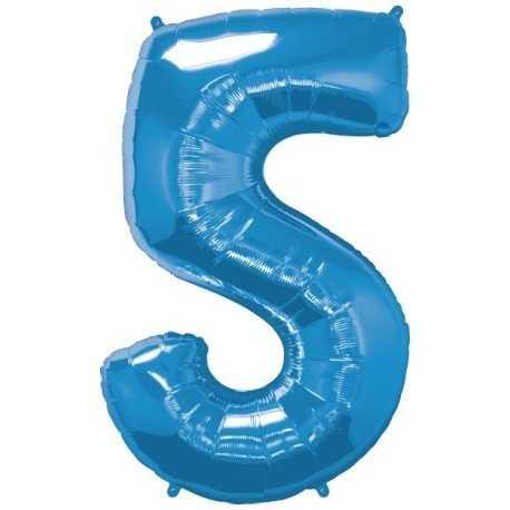 Ballon Géant Alu Bleu 5 Ans Fête d'Anniversaire