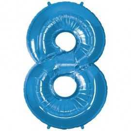 Ballon Géant Alu Bleu 8 Ans Fête d'Anniversaire enfant