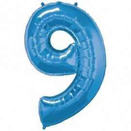 Ballon Géant Alu Bleu 9 Ans Fête d'Anniversaire