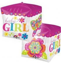 Ballon Hélium Cube 3D Baby Girl