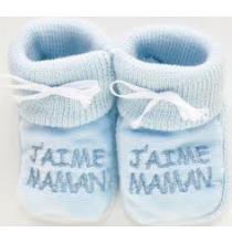 Chaussons bébés bleus J'aime Maman