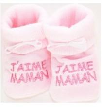 Chaussons bébé rose J'aime Maman