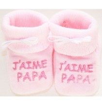 Chaussons roses bébé brodé J'aime Papa
