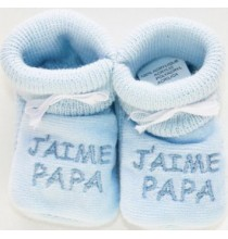 Chaussons bleus bébé brodé J'aime Papa
