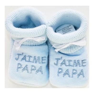 ac7d43eb6574f Chaussons bébé brodé J aime Papa en bleu pour bébé garçon