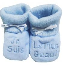 Chaussons bleus bébé brodé Je suis le plus beau