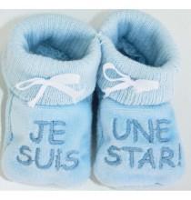 Chaussons bleus brodés Je suis une star