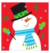 Grandes serviettes en papier Bonhomme de Neige Noël