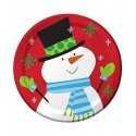 Petites Assiettes Premium Bonhomme de Neige Noël en papier