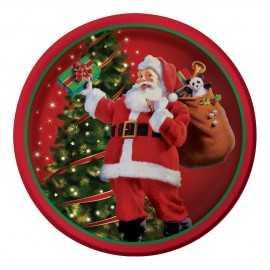 Grandes Assiettes Premium Père Noël rétro en papier