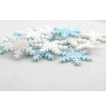 Décorations en Sucre Flocons Bleu Clair et Blanc