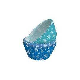 75 Moules à Cup cake flocons de neige blancs sur fond bleu