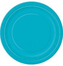Petites Assiettes en Papier Bleu Turquoise de Fête