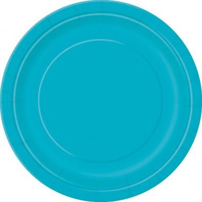 Grandes Assiettes en Papier Bleu Turquoise de Fête