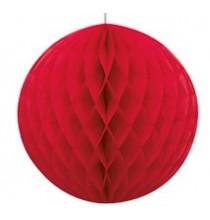 Boule Alvéolée Papier Rouge 20,32 cm à l'unité