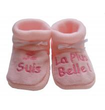 Chaussons bébé rose Je suis la plus belle
