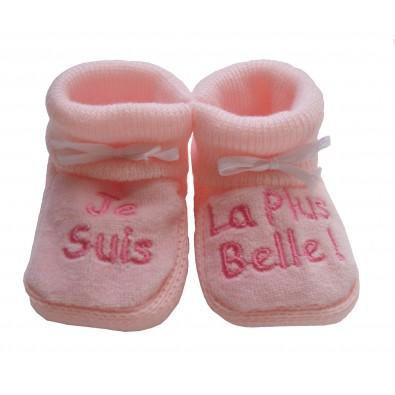 Chaussons bébé rose Je suis la plus belle 389b0ab3f21