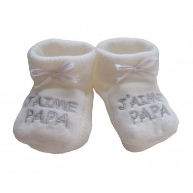 c7d18bacb36e8 Chaussons blancs J aime Papa Cadeau Bébé
