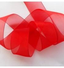 Ruban Au Mètre 40mm Rouge Organza avec fil de fer
