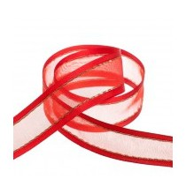 Ruban Au Mètre 40mm Rouge Organza Bordure satin avec fil de fer