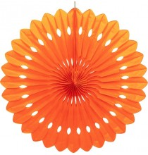 Rosace Eventail Orange 40 cm Papier de Riz