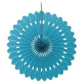 Rosace Eventail Bleu Turquoise 40 cm Papier de Riz