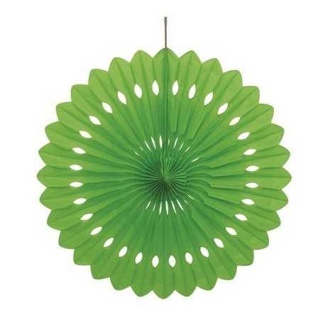Rosace Eventail Vert 40 cm Papier de Riz