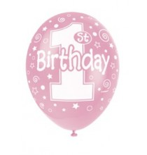 Ballons Latex 1st Birthday Premier Anniversaire Fille rose