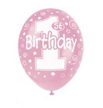 Ballons Latex 1st Birthday Premier Anniversaire Fille rose