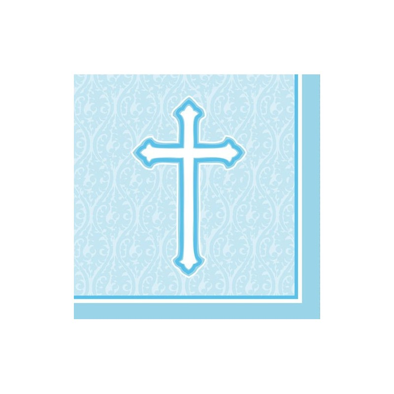 Serviettes En Papier Pour Bapt 234 Me Et Communion Croix Bleu