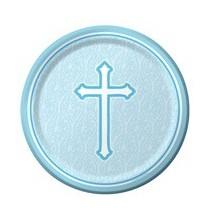 Assiettes Jetables Baptême Bleu Clair et Croix