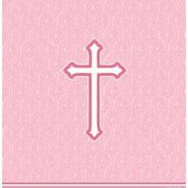 Nappe en plastique rose Baptême Communion Croix