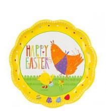 12 Petites assiettes premium Joyeuses Pâques avec la poule et poussin