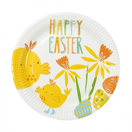 12 Grandes assiettes premium Joyeuses Pâques avec des poussins