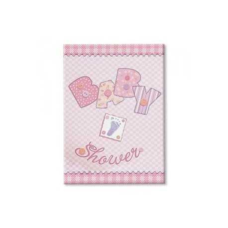 8 Invitations Baby Shower Rose + Enveloppe