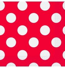 Serviettes en Papier Rouge à Pois Blanc