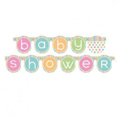 Turbo banderole guirlande à fanions baby shower pastel avec pois et rayures JJ93