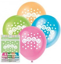 8 Ballons Latex Baby Pastel
