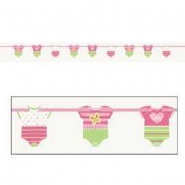Banderole à fanions en forme de Body Fille Déco Baby shower